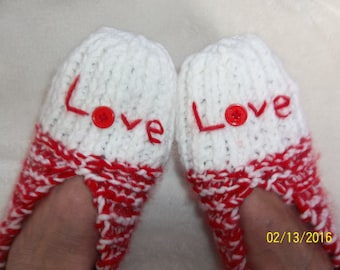 Women's Red/White Valentine Hand Knitted Slippers-Size 9