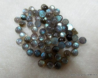 AAA Quality 7 mm Round (5 pcs lot) Natural LABRADORITE cabochon have lots of gorgeous..... beautiful GRAY with multi blue sheen