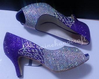 Purple Women Pumps High/low Heels Violet Purple And AB Crystal Rhinestone Prom Shoes Custom Peep Toe Crystal Low Pumps Heels