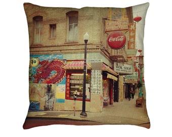 San Francisco's Chinatown Printed Throw Pillow. Cushion Cover, Apartment Decor, Dorm Decor, Sofa Cushion, Urban Street Photography, Graffiti