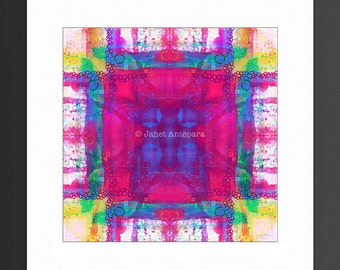 Carnival Daze Art Print. Square Art, Pink Home Decor, Pink Art Print, Abstract Art, Modern Art, Tie-Dye Print, Bright Art, Colorful Art