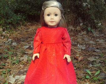 american girl doll red sparkly dress
