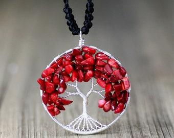 Handmade tree of life copper wire beads necklace gemstone geometric nickel free