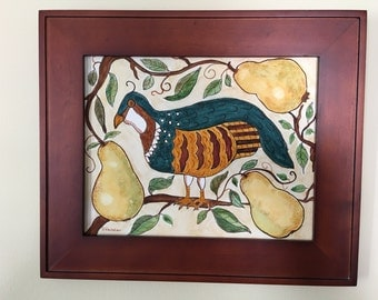 Watercolor and ink of partridge in a pear tree