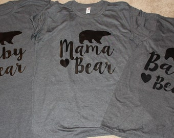 MAMA BABY BEAR. Mama bear. Baby bear. Papa Bear shirt. Price is per one design