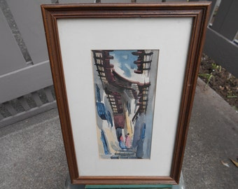 Delightful vintage South American unsigned watercolor of streets of Rio De Janeiro