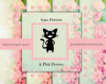 Digital Paper Pack Aqua Dreams and Pink Flowers Sparkles Bokeh Jadite Scrapbooking Pages Glitter Roses Peonies Sugar Garden Shabby Chic