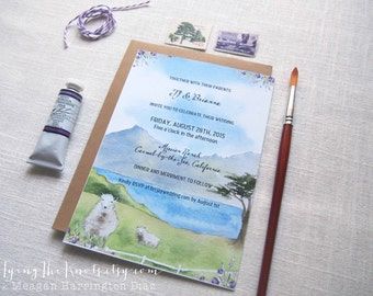 Watercolor Wedding Invitations - Custom invites - Carmel California Wedding - Carmel by the Sea