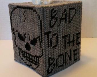 Bad To The Bone Skull Tissue Box Cover