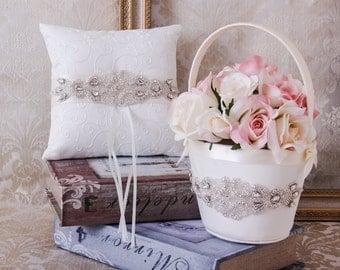 Rhinestone Ring Bearer Pillow, Flower Girl Basket, Rhinestone Wedding Basket and Pillow Set, Rhinestone Flower girl Basket