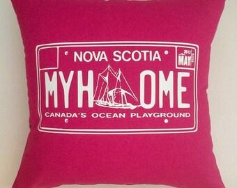 Pink, Fuchsia , My home, Nova Scotia License plate pillow cover, cushion cover