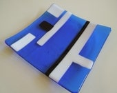 "8""x8"" plate - Art Deco Blue"