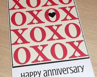 Happy Anniversary Card - hugs and kisses  XOXO - handmade - husband wife boyfriend girlfriend - handmade greeting card