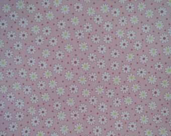 "Half Yard of Lecien Retro 30's Tiny Daisies and Dots Fabric in Pink. Approx. 18"" x 44"" Made in Japan"