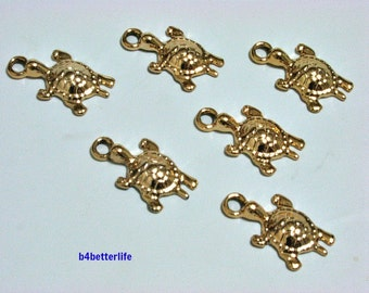 "Lot of 24pcs ""Turtle"" Gold Color Plated Metal Charms. #XX263."