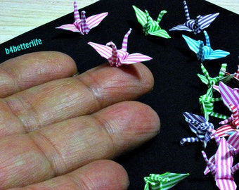 "100pcs Assorted Colors 1-inch Origami Cranes Hand-folded From 1""x1"" Square Paper. (MD paper series). #FC1-36."