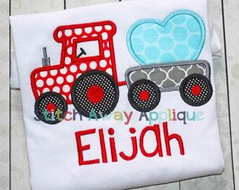 Heart Tractor Valentines Machine Applique Design