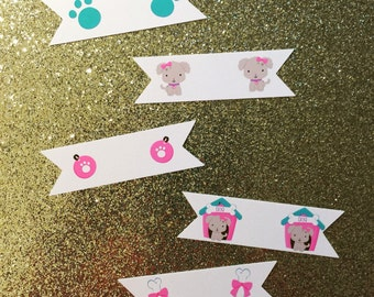 Straw Flags, Kids Party, Pawty Time, Dog Adoption Party