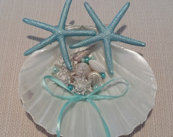 Shell Jewelry Box with Ribbons and Optional Silk Pillow