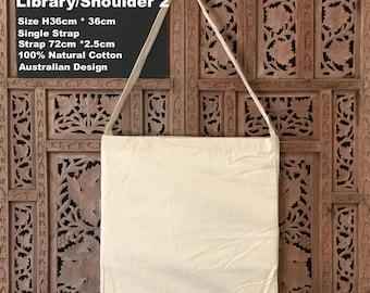 "Calico Bags Library Calico Shoulder Bag H38cm*W31cm, S2  Custom Calico bags "" Customisation"""