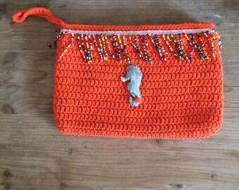 Traveler pouch , pochette bag , hand bag, handmade crochet clutch, summer pochette