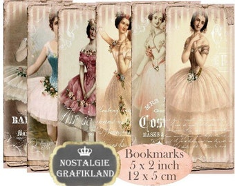 Ballerina Paris Bookmarks Instant Download digital collage sheet E174 Vintage Paper Ballet