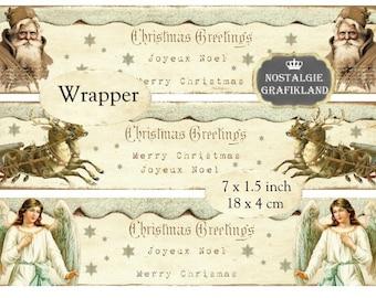 Wrapper Christmas Santa Claus Reindeer Angels Instant Download digital collage sheet E105