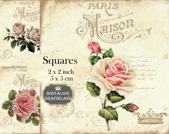 French Maison Roses Squares 2x2 inch Download digital collage sheet TW139 Redoute Victorian Rose