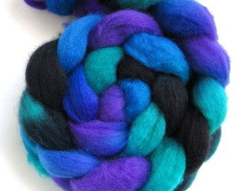 Hand Dyed BFL Wool Roving - Evil Mermaid- 100% BFL  roving spinning fiber, combed top