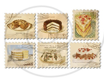 Food stamps. Old postage stamps. Vintage digital stamps. Postage stamp art. Digital collage sheet #2. Cakes, bakery. Instant download PNG