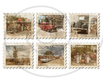 Route 66 items. Fake stamps. Old postage stamps. Vintage digital stamps. Postage stamp art. Digital collage sheet. Instant download PNG