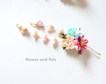 wedding flower bridal- Wedding Hair pin- Wedding Hair Flower- Bridal Hair pin- Floral hair pin- Pink Wedding-S16