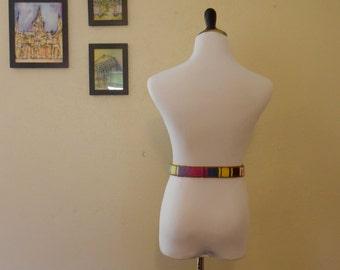 Block Color Vintage Woven Belt