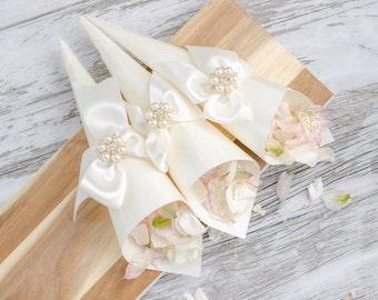 Luxury Petal Cones - Wedding Flower Cones - Confetti Cones - Favor Cones - Made from Silk - Custom Colors Available