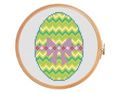 Easter egg - modern cross stitch pattern - chevron spring Resurrection Sunday Pasch Jesus Christ Holy Week easter bunny green
