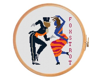 Foxtrot - cross stitch pattern - pair dance retro dance 1912 Jazz Rhythm The Blues
