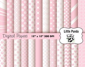 70% OFF SALE Pastel Pink Digital Scrapbook Paper Pack 24 jpg files 12 x 12  - Instant Download - D252