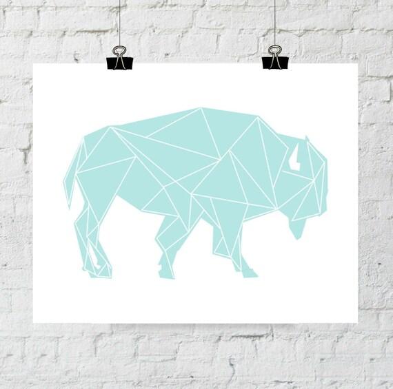 Turquoise Buffalo, Buffalo Wall Art, Buffalo Print, Buffalo Art, Buffalo Wall Prints, Geometric Art, New York Print, Buffalo New York, Art