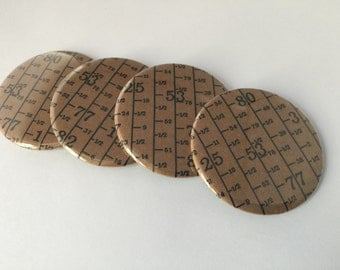 Measuring Tape Magnet Set, 4 Magnets in a Tin