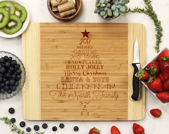 Personalized Cutting board, Christmas Cutting Board, Christmas Tree Cutting Board, Custom Engraved, - 11 x 14 Bamboo --6157