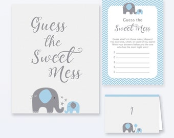 Baby Shower Games - Guess The Sweet Mess Game - Blue Elephant Baby Shower - Blue Elephant Shower Games - Dirty Diapers Game - Blue Elephant