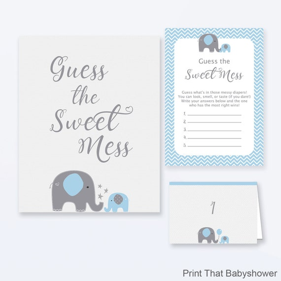Baby Shower Games Guess The Sweet Mess Game Blue Elephant Baby
