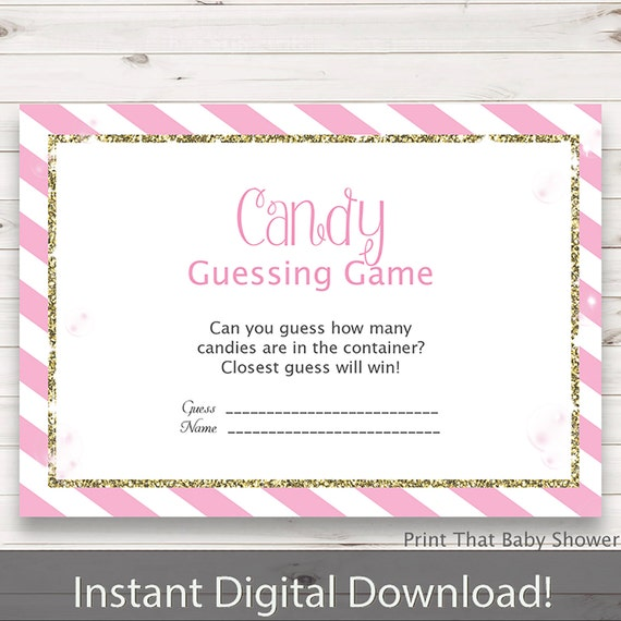 Candy Baby Shower Game: Baby Shower Games Candy Guessing Game Pink And Gold Baby