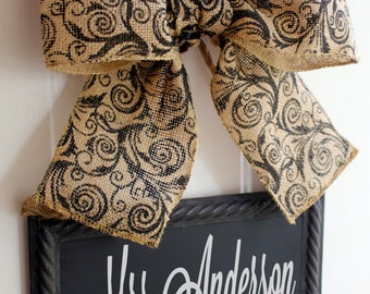 Teacher Sign CHALKBOARD Personalize Hanging Door Signs  Burlap Bow Ribbon Blackboard - Back to School