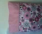Pink Floral & Pink Stripe Standard Pillow Case