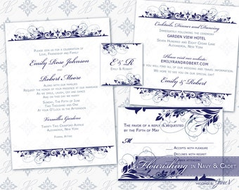 Invitation Template Printable | DIY Wedding Invitation Download (5x7 set) | Flourishing in Navy & Cadet