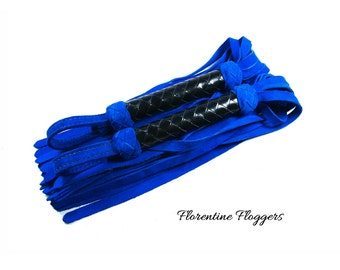 Suede Florentine Flogger Set - Pair of Floggers - Your Choice of Suede Tail Colour