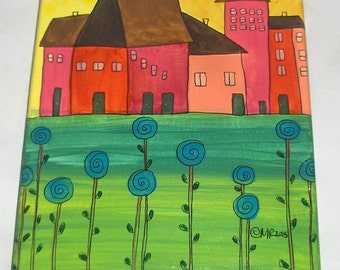 Small Folk Art Landscape houses sun flowers whimsical OOAK simple prim naive outsider art painting self taught artist original art by micki