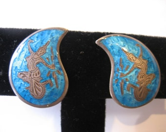 Vibrant Vintage Bright Turquoise Enamel Sterling Silver Siam Earrings