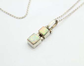 "Hinged Square Section Pendant with Opals in 950 High-Purity Silver on 18"" Chain. [11479]"